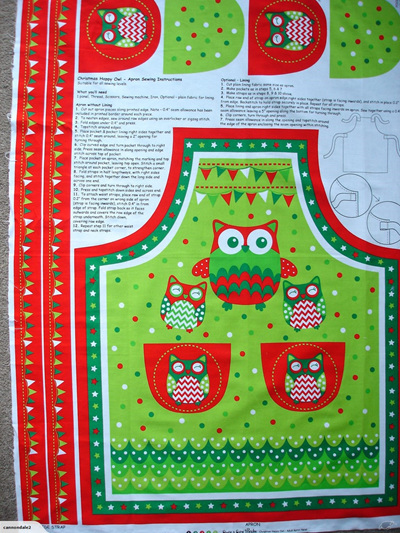 Christmas Happy Owl Apron Panel