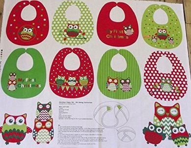 Christmas Happy Owl Bib Panel