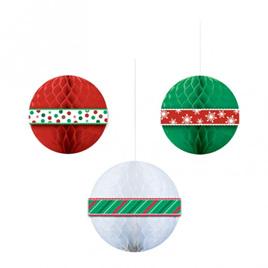 Christmas Honeycomb Balls x 3