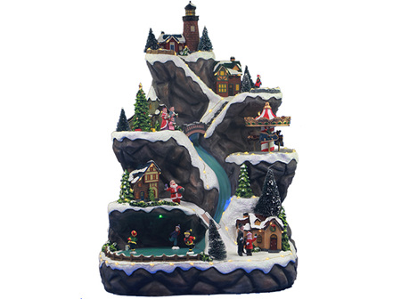 CHRISTMAS LED MOUNTAIN WITH THREE TURNING  FUNCTIONS W MUSIC