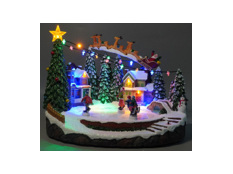 Christmas LED Village with Reindeer Sleigh & Kids,  Function & Music Battery Operation excluded