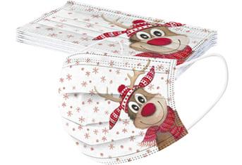 ***CHRISTMAS LIMITED EDITION MASKS**** 5pk Rudolph Reindeer Disposable Masks