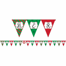 Christmas paper pennant banner
