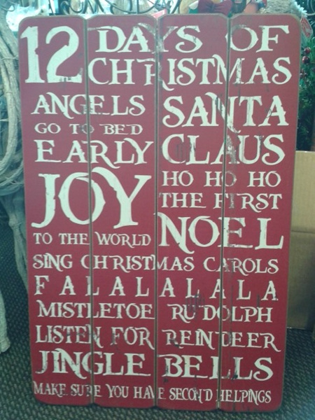 Christmas Sayings - Vintage Red Wooden Plaque