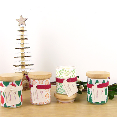 Christmas scented decal candles
