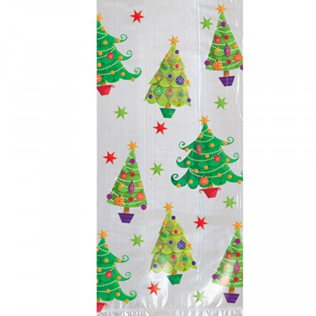 Christmas Tree design cellophane bags - 20 pack (large size)