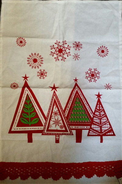 Christmas Trees Teatowel with Red Lace