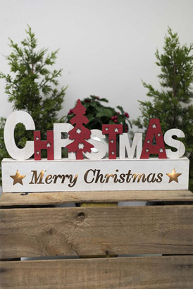 Christmas wooden light up sign