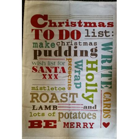 Christmas Words tea towel