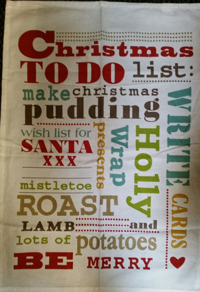 Christmas Words tea towel