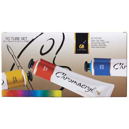 Chromacryl Acrylic Paint Student 10 x 75ml Set