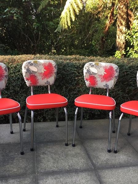 Chrome Chairs Pohutukawa Inspired - Set of 4