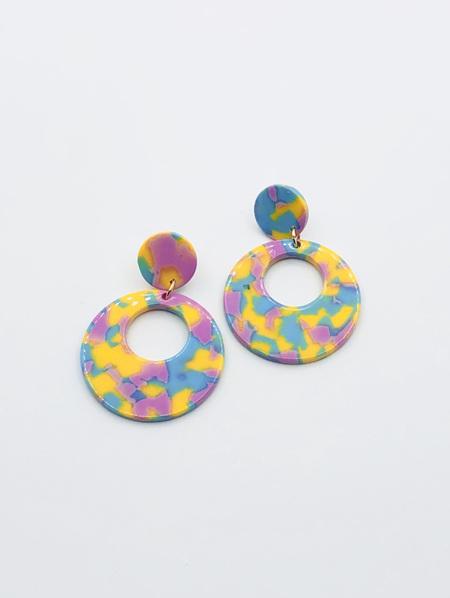 Circle Resin Earrings - Blue, Yellow & Purple