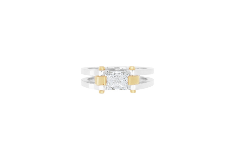 circlipd radiant - radiant cut diamond two tone ring