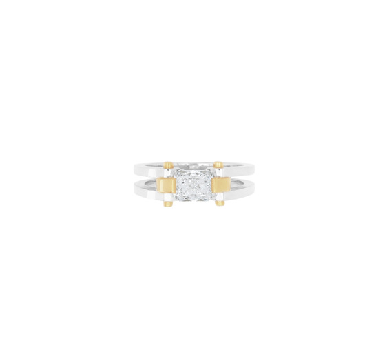 circlipd radiant - radiant cut diamond two tone ring