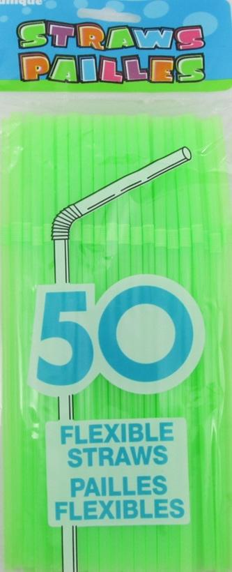 Citrus Green Plastic Straws x 50