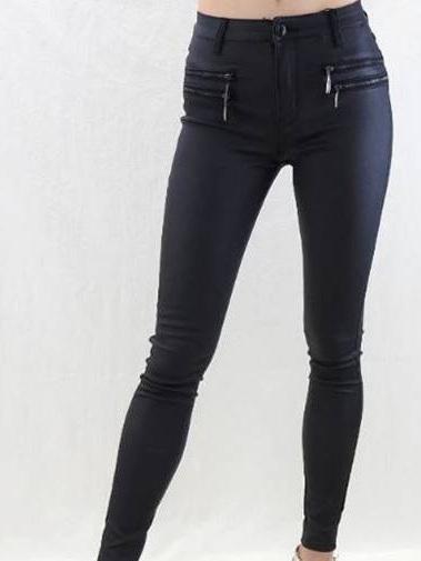 CJ Zipped Skinny Jean - Black wax look