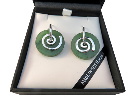 CKA946 New Zealand greenstone round koru earrings