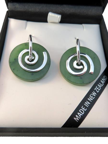 CKA946 New Zealand greenstone round koru earrings