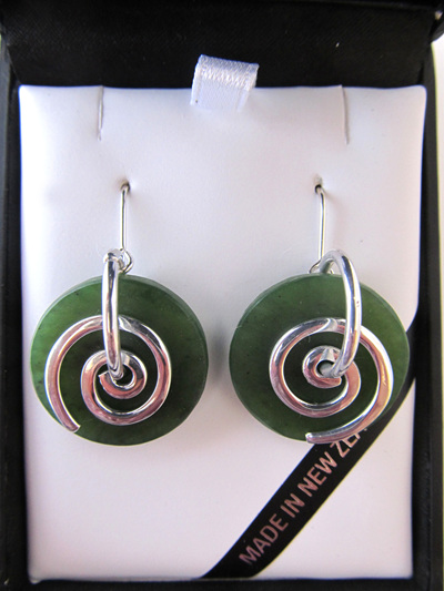 CKA946 Round greensotne with silver koru earrings.
