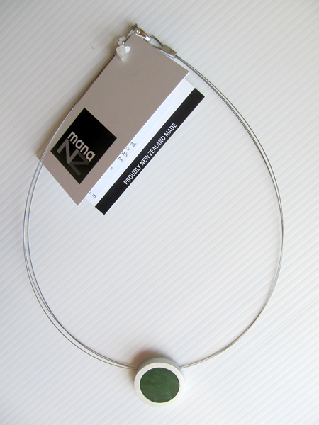 CKA959 Round greenstone pendant in silvalloy setting on double wire necklace.