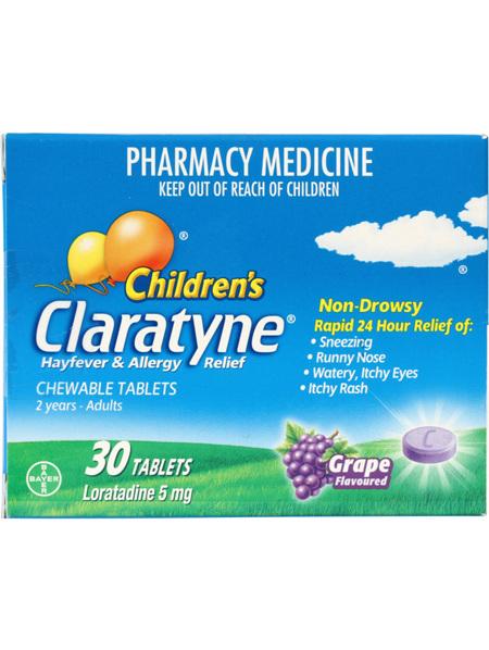 Claratyne Children's Chewable Tablets Grape 30s