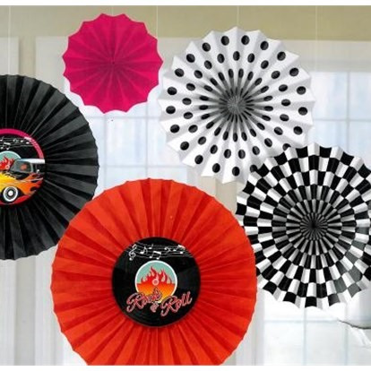 Classic 50's set of 6 fans for Decorating