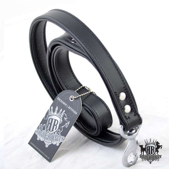Classic Black Leather Padded Leash by Rogue Royalty
