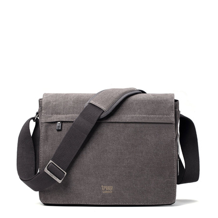 Classic Large Flap Front Messenger Bag - Charcoal