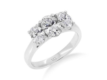 Classic Oval Three Stone Diamond Ring