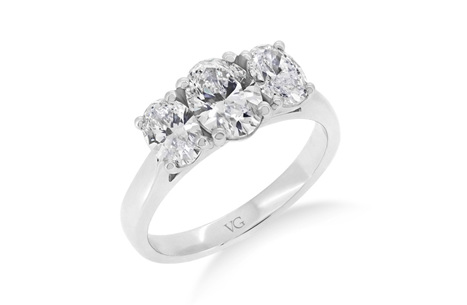 Classic Oval Three Stone Diamond Ring