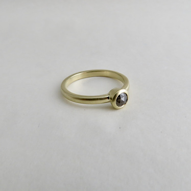 Classic Solitaire Ring In 14k And Salt Pepper Diamond