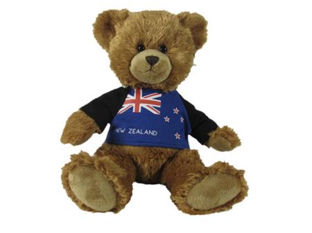 Classic Teddy Bear wearing NZ Flag T Shirt