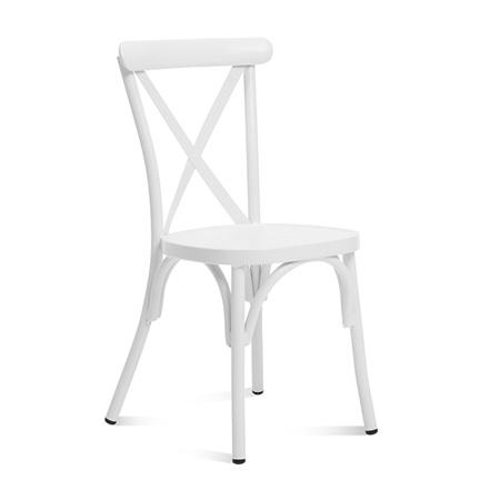 Classic White Cross Back Metal Chair