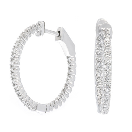 Claw Set Diamond Hoop Earrings