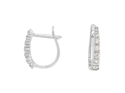 Claw Set Diamond Huggie Hoop Earrings