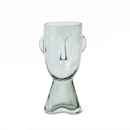 Claydon Glass Face Vase Clear Large