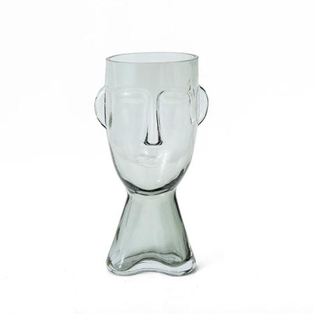 Claydon Glass Face Vase Clear Small