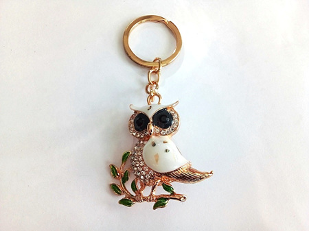 Clear Diamante Owl On Branch Key Ring