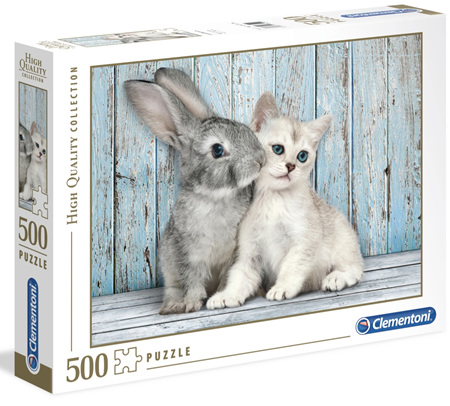 Clementoni 500 Piece Jigsaw Puzzle: Cat &  Bunny