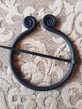 Cloak Pin 3 - Hand Forged Iron Brooch with Twisted Ends (6.5 cm)