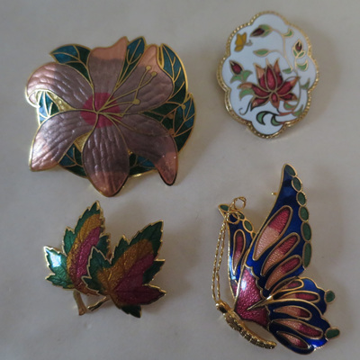 Cloisonne brooches