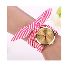 CLOTH WRAP WATCH - STRIPED HOT PINK