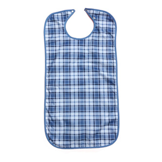 CLOTHING PROTECTOR/ ADULT BIB WATERPROOF BLUE TARTAN 45 X 90CM