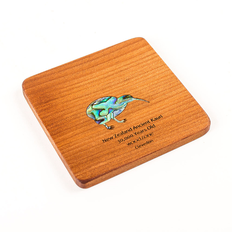 coaster square with paua kiwi - ancient kauri