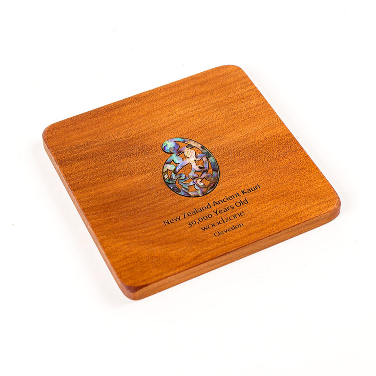 coaster square with paua koru - ancient kauri