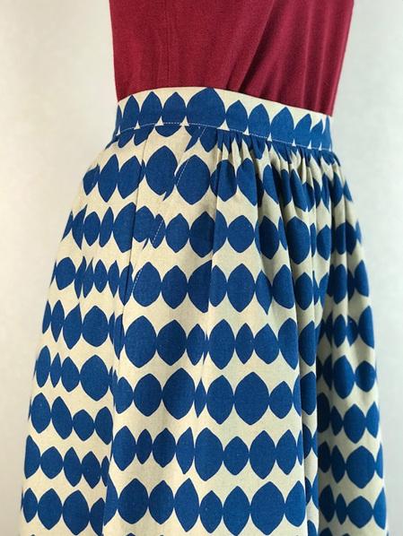 Cobalt stencil midi skirt