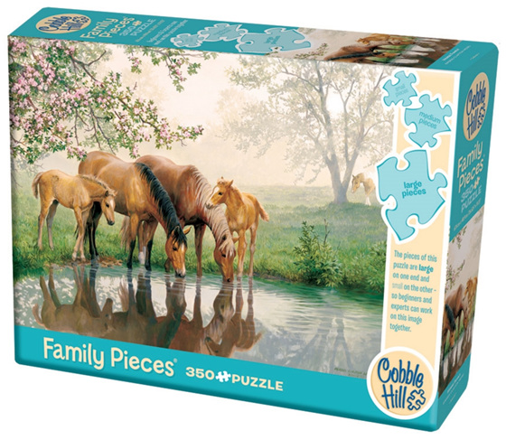 Cobble Hill 350 Pieces  Family Jigsaw Puzzle: Horse Family