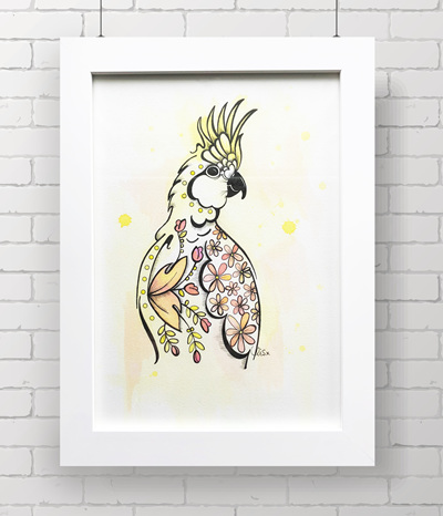cockatoo - THE ORIGINAL - framed
