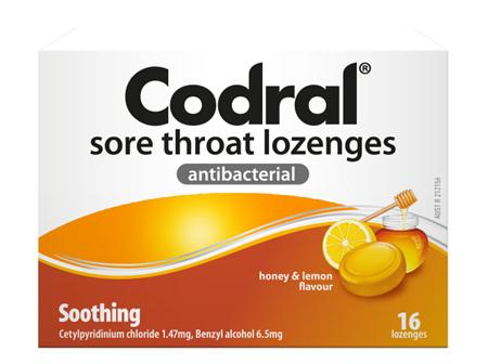 CODRAL Sore Throat Loz Honey/Lem 16